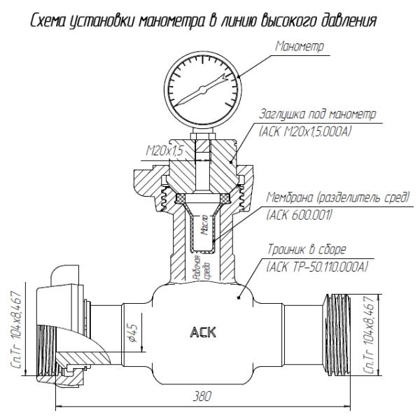 Схема установки манометра в